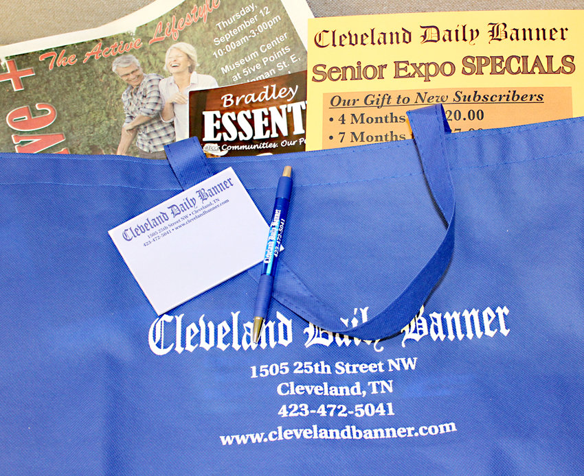 GUESTS AT next week's Fifty-Five+ Senior Expo will receive a goody bag from the Cleveland Daily Banner, to make it easier for guests to collect and carry information provided by vendors.