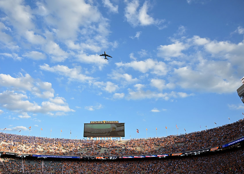 The 134th Air Refueling Wing/Tennessee Air National Guard, stationed at the McGhee Tyson Air National Guard Base performs a flyover prior to an NCAA football game between the Brigham Young Cougars and the Tennessee Volunteers Saturday, Sept. 7, 2019, at Neyland Stadium in Knoxville, Tenn. BYU defeats UT 29-26 in double overtime.