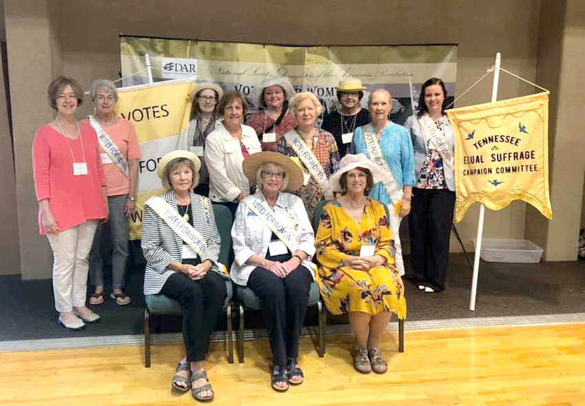 ATTENDING THE Tennessee Society Daughters of American Revolution East Tennessee Workshop in Maryville were, seated from left, Vice Regent Joanne Swafford, Virginia Orr and Linda Boyd; and standing, Jane Lucchesi, Becky Chaffin, Regent Leigh Ann Boyd, Carolyn Hendrix, Linda Foster, Harriett Caldwell, Ann McElrath, Judie Brock, and Carmen Thurman.