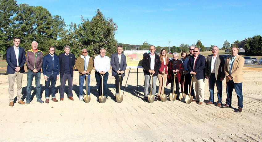 FREEDOM PARK COMMITTEE members, Bradley County government and school officials and private donors gather for the groundbreaking for the new pavilion at Freedom Park off Spring Place Road.
