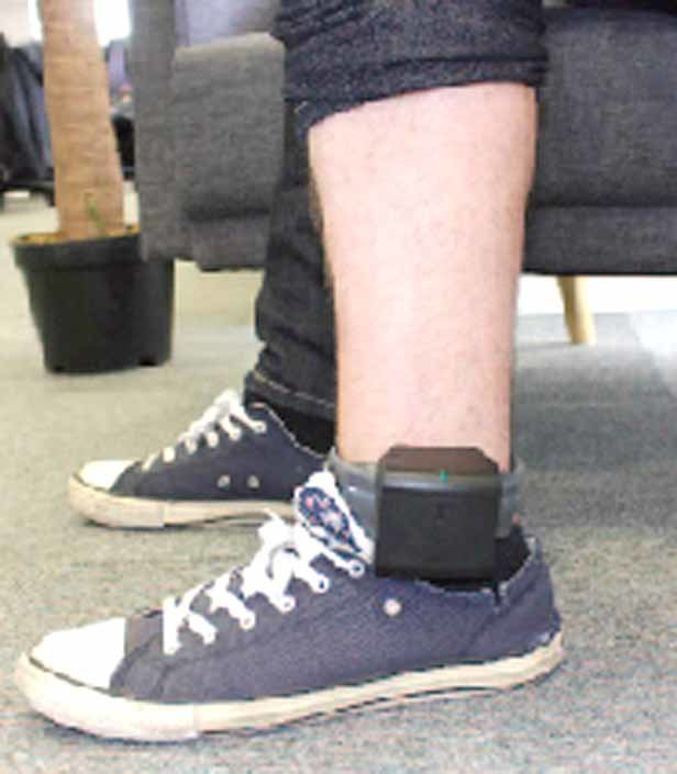 THIS IMAGE shows a Buddi ankle bracelet monitor in use. Bradley County is considering an in-house monitoring option for misdemeanor offenders.