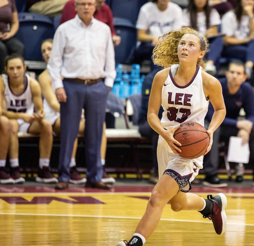 LEE UNIVERSITY sophomore Haley Schubert led the Lady Flames with 15 points in Saturday's win over Clark Atlanta.