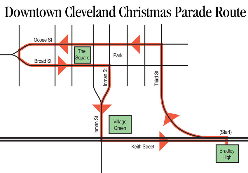 DOWNTOWN Cleveland's Christmas parade departs Saturday from Bradley Central High School, travels north on South Lee Highway to Third Street, north on Ocoee Street, around the monument, south on Broad Street, continues on to Inman Street and back to South Lee Highway to the school.