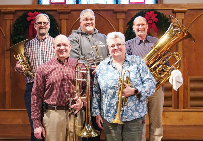 The Faculty Brass Quintet include, front from left, Dr. Doug Warner, Christina Erickson, back, Gordon James, Joel Tillman and Donald Strand.