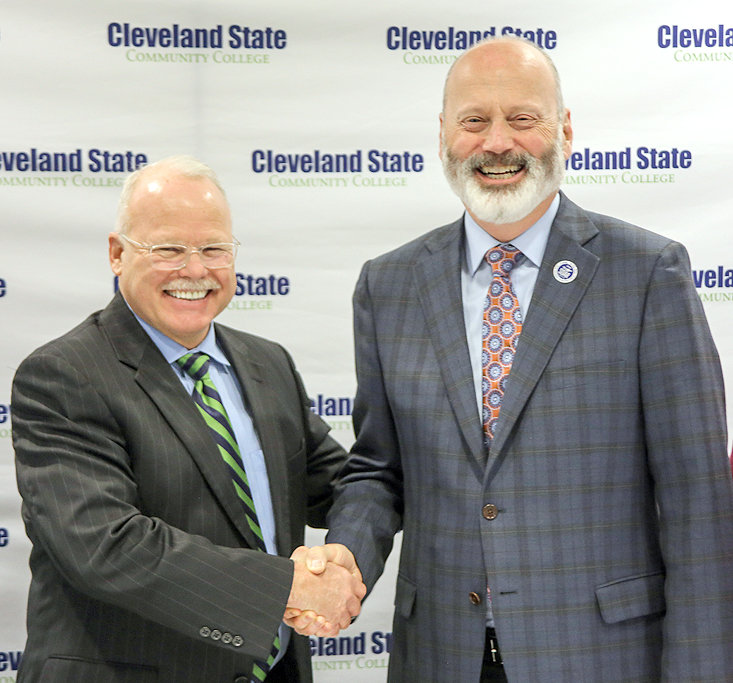 Tennessee Wesleyan University President Dr. Harley Knowles, left, and Cleveland State Community College President Dr. Bill Seymour shortly after signing the articulation agreement at Cleveland State's Johnson Center.