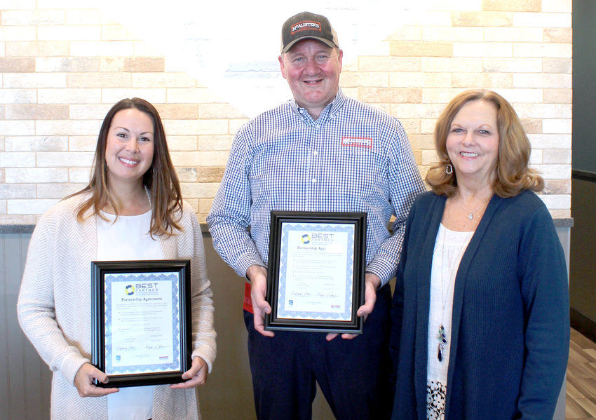 "The Chamber's newest ""BEST"" partners are, from left, E.L. Ross Elementary Principal Stephanie Stone, McAlister's Deli - Cleveland Managing Partner Mark Walkup and the Chambers' Workforce Development Director Sherry Crye."