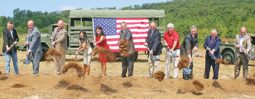 TO CLOSE THE HISTORIC groundbreaking ceremonies for the Bradley County Tennessee State Veterans Home in August, a slew of local, state and federal representatives joined together to turn over the first shovels of dirt, commemorating 16 years of work to bring the long-awaited project to fruition. From left are state Rep. Dan Howell, state Rep. Mark Hall, U.S. Rep. Scott DesJarlais, former Tennessee Commissioner of Veterans Services Many-Bears Grinder, current Tennessee Commissioner of Veterans Services Courtney Rogers, Gov. Bill Lee, state Sen. Mike Bell, state Sen. Todd Gardenhire, Terry Lamb (a financial advisor representing the anonymous donor of a $3 million gift to the veterans home), Cleveland Mayor Kevin Brooks and Bradley County Mayor D. Gary Davis.