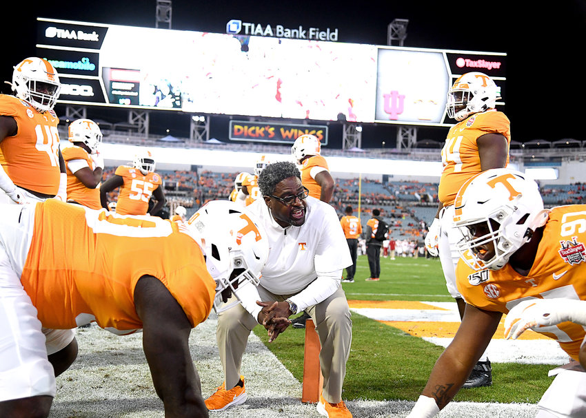 Tennessee Volunteers defensive line coach, Tracy Rocker, warms up players prior to the start of the Gator Bowl NCAA football game against the Indiana Hoosiers Thursday, January 2, 2020, at TIAA Bank Field in Jacksonville, Fla.