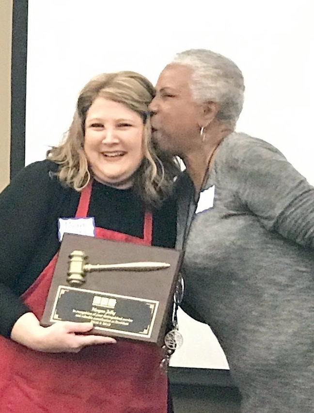 The Cleveland Media Association had its Souper Bowl event on Friday at the Cleveland/Bradley Chamber of Commerce. There were 31 people in attendance. Toni Miles presented a presidency gavel plaque to Meagan Jolly, who served as president this past year.