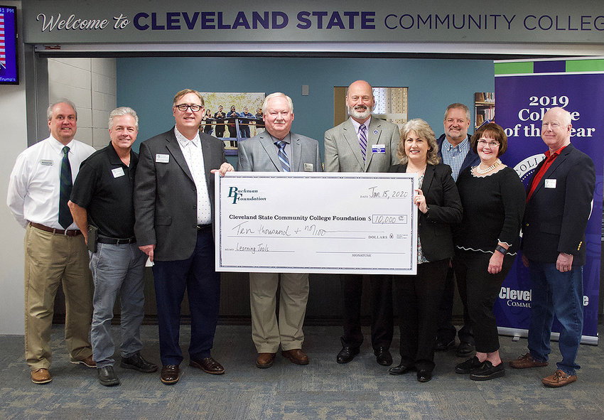THE BACHMAN FOUNDATION donated money to Cleveland State Community College to fund use of a Kurzweil software system, which helps students with learning disabilities in their studies. Pictured from left are Dr. Michael Stokes, CSCC vice president of Student Affairs; Bachman Foundation Board Vice Chairman Jeff Gregory; Bachman Foundation Director Dr. Mark Frizzell; Bachman Trustee Ken Weller; CSCC President Dr. Bill Seymour; Christa Mannarino, CSCC executive director of Advancement and the Foundation; Mark Wilson, CSCC director of Counseling and Career Services; and Bachman Trustees Dr. Megan Moe and Mike Sikes.