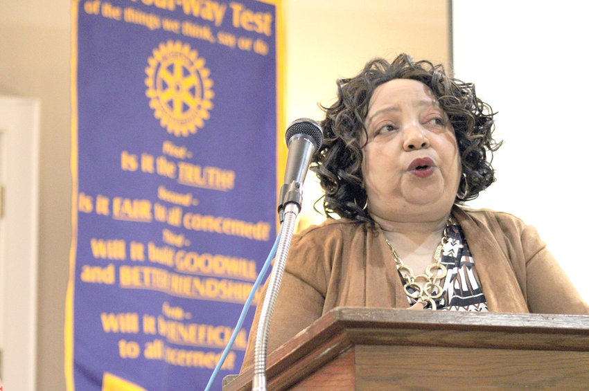 VICKIE TRICE, director of the Department of Commerce and Insurance for the state of Tennessee, talks to Bradley Sunrise Rotarians on Thursday about the numerous scams and insurance mistakes seen around the state.