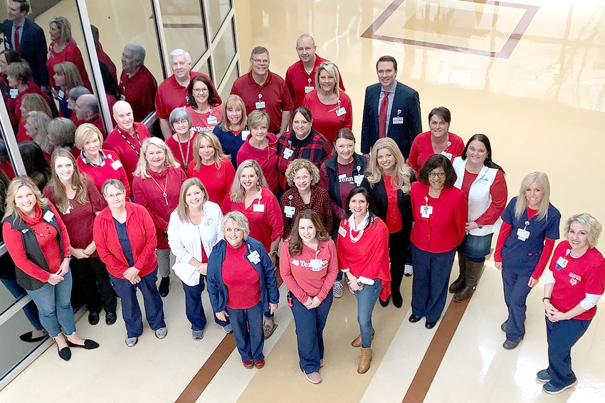 SOME OF THE staff at Tennova Healthcare — Cleveland are shown in red, which they wore on National Go Red Day Feb. 7.