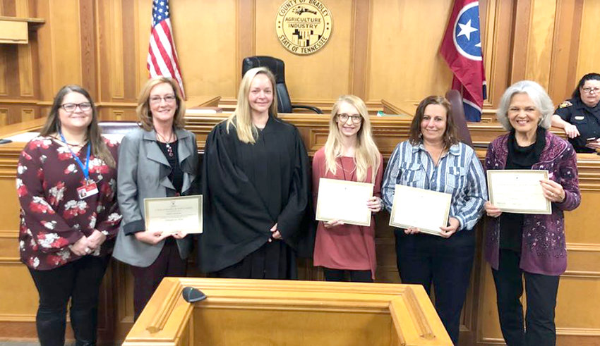 NEW ADVOCATES for CASA of Bradley and Polk Counties were recently sworn in. From left are advocate manager Natalie Barrionuevo, Sabra Struermer, Judge Ashley Gaither, Caitlyn Hill, Marissa Clayton and Vicki Petzko. Brenda Philips also completed the training, but was unavailable for the photo.