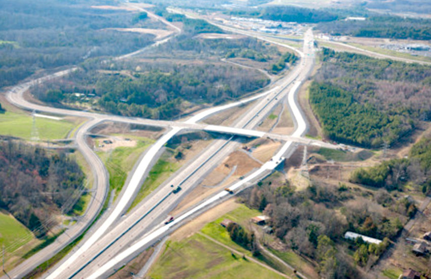 An AERIAL file photo shows the Tom Rowland Interchange on APD 40. Interstate 75 can be seen at upper right. The interchange was dedicated in 2017.