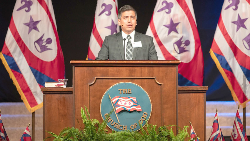 OSCAR PIMENTEL, general overseer for The Church of God, speaks at the 114th General Assembly of The Church of God in Kingsport.