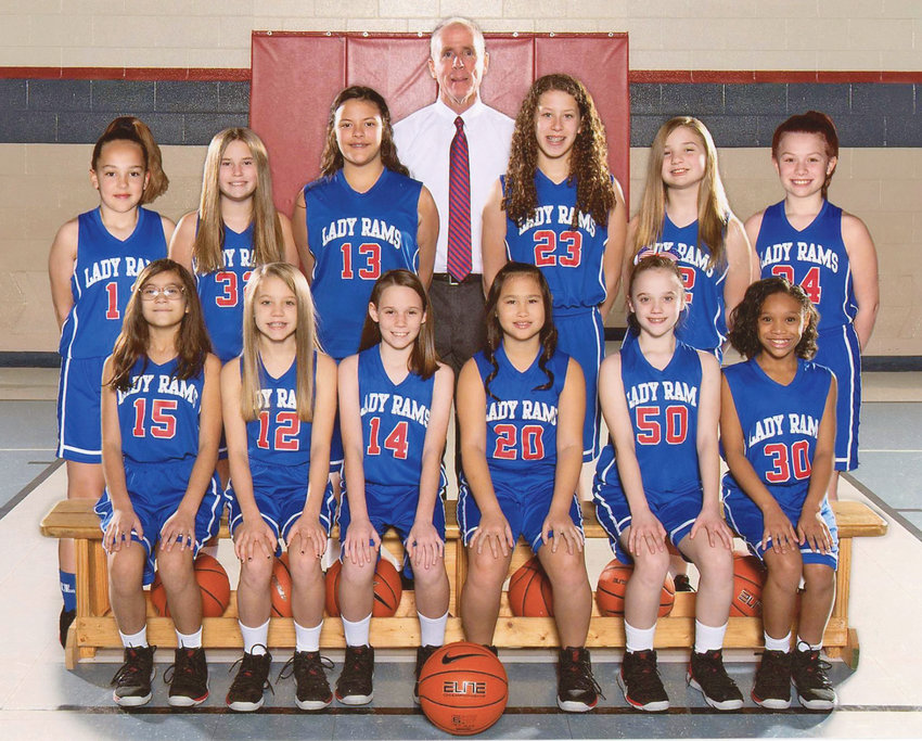 THE NORTH LEE Lady Rams 4th-/5th-grade girls basketball team capped off a perfect 22-0 season capturing the Bradley County Elementary League regular season and tournament championships. Front row, from left, Kaitlyn Mendez, Laney Copeland, Abby Hernandez, Madi McDonald, Paisley Payne and Kaija Cox. Back row, from left, Lola Myers, Isabella Hill, Emma Rollins,  Emily Patterson, Kayla Holt and Madeline Prater. The Lady Rams are coached by David Hancock.
