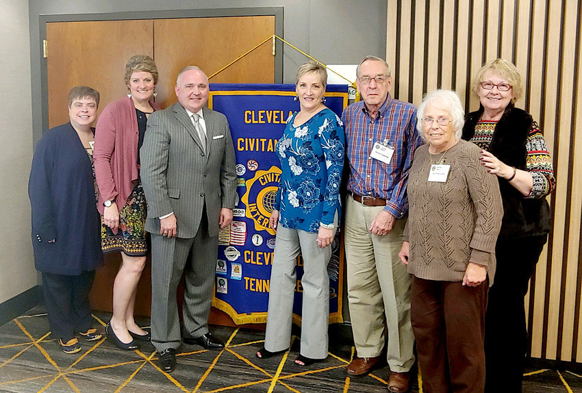 Cleveland Mayor Kevin Brooks spoke to the Cleveland Civitan Club last week. From left are Melody Gibby, President Rachel Brannen, Past President Lee Tate, Playground chairman Dave Cummings, Luci Zwierzynski and Nancy Marucco. Civitan exists to be of service to the community, especially to those with developmental delays. The chapter meets on Wednesday, from noon to 1 p.m., with a speaker and lunch at the new Holiday Inn off Interstate Drive.