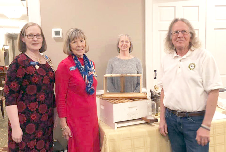 Guest Speaker and beekeeper Ron Stephenson, right, is shown with Regent Leigh Ann Boyd, Vice Regent Joanne Swafford, and Jan Stephenson.