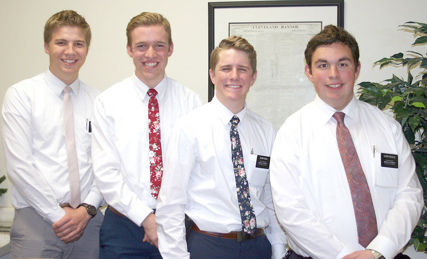 CHURCH OF JESUS Christ of Latter-day Saints has four young missionaries working in the area. They include Joshua Johnson, Ethan Ostler, Barry Cuell and Kurt Neville.