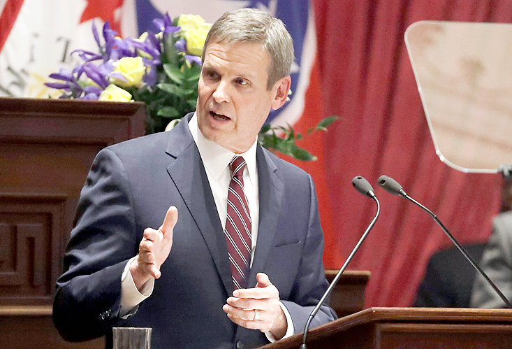 """ON MONDAY, Gov. Bill Lee declared a """"safer at home"""" policy in response to the COVID-19 pandemic which continues to spread across the country. Tennessee's numbers of infections, and deaths, also continue to rise. At last report, Bradley County has been recorded with nine cases. Here, Lee delivers his State of the State Address in the Tennessee House of Representatives Chamber, in which he declared a coronavirus state of emergency on March 12."""