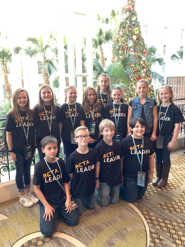 Contributed photo    MEMBERS of the Black Fox Elementary School Beta Club stand together at a statewide competition in Nashville last November. Four students took home top honors and are advancing to the national competition in June, which will be held virtually.