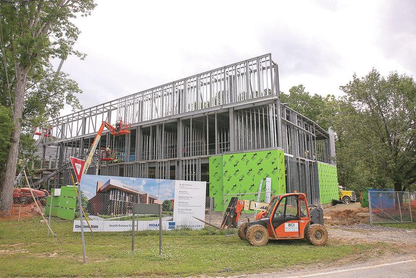 CONSTRUCTION OF THE NEW Cleveland State Health Science Center on the CSCC campus moves along. The new building is being built at the corner of Norman Chapel Road and Addison Drive.