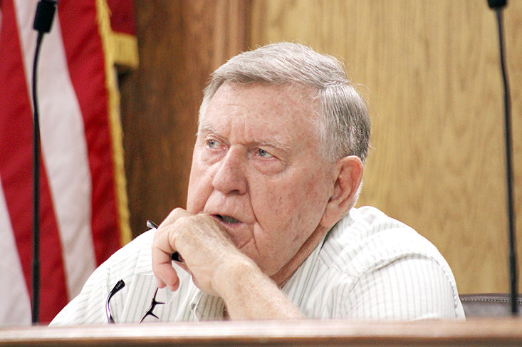 COMMISSIONER LOUIE ALFORD asks a question during the Bradley County Commission Law Enforcement Committee meeting on Thursday regarding a proposal for a new healthcare provider for the jail.