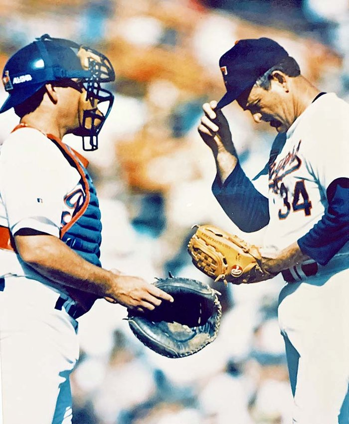 FORMER BRADLEY BEAR Ray Stephens, left, was battery mate for Texas Rangers' pitcher Nolan Ryan against the Seattle Mariners in Arlington, Texas, in this Sept. 27, 1992 photo.