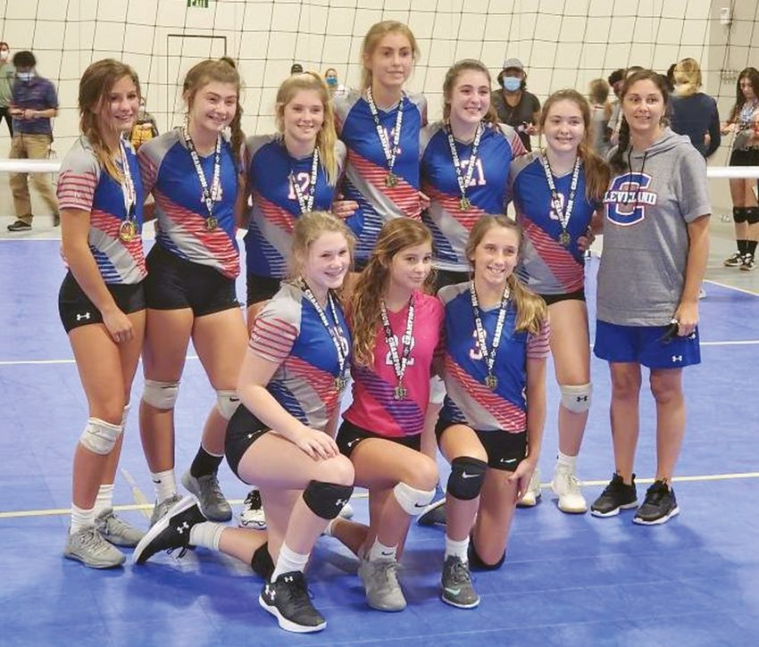 The Cleveland Middle School varsity team went undefeated in winning the Face Off Volleyball Tournament in Knoxville over the weekend. Team members are, front from left, Emma Mountain, Aspen Ownby, Alyssa Davenport; standing, Maddy Eslinger, Allie Pierce, Mayci Wilson, Audra Capps, Carrie Hicks and Coach Brandi Ownby.