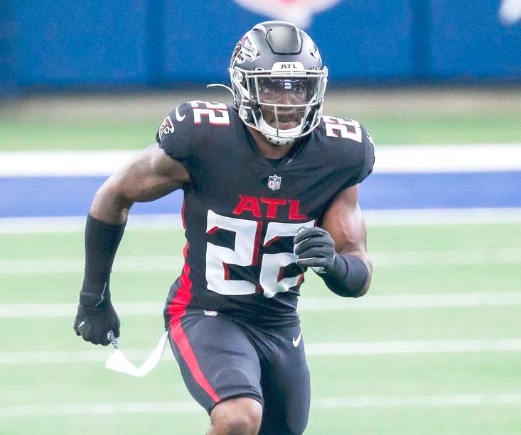 ATLANTA FALCONS' strong safety Keanu Neal (22) defends against the Dallas Cowboys, in Arlington, Texas. The Falcons are looking to have some injured players return to their depleted defense for today's game against Carolina. The winless Falcons have lost five members of their secondary.