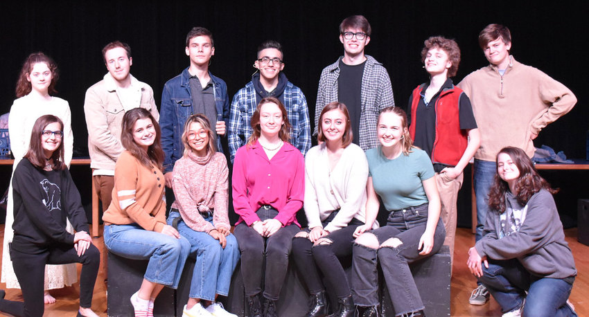 """""""Juliet's Ghost"""" cast members include, back row, Caelie Porter, Joseph Newsome, Evan Rants, Francis Rodriguez, Cristian Armstrong, Lrik Cook, Nate Smith;   front, Grace Maddox, Hannah Morris, Kalani Estrada, Riley Taylor, Alexis Allman, Hannah Marr and Lily Guthrie."""