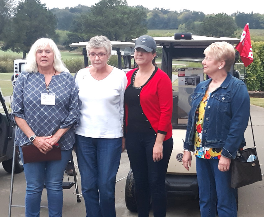 WIDOWS OF THREE MEN who served as members of the Southeast Tennessee Veterans Home Council were present at the 11th Annual Cid Heidel Golf Tournament. From left are Judy Davis (Joe Davis' widow), Polly Heidel (Cid Heidel's widow), Catherine Smith (Heidel's daughter), and Nancy Dees (Kim Dees' widow).