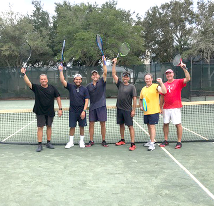A TENNIS TEAM consisting of players from Cleveland and Texas won a combo tennis tournament at Rosemary Beach Tennis Club in Rosemary Beach, Fla. Pictured are Randy Cornell, Ed rameriz, Ryan Scrivner (captain) Mike Hoops, Kevin Kerr and David Cobb.