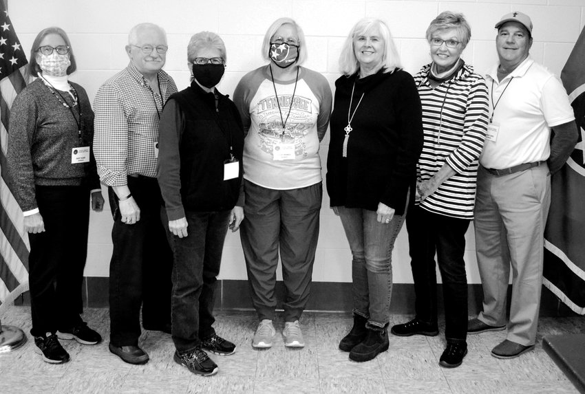 NEW OFFICERS for the Southeast Tennessee Veterans Home Council were elected at Thursday's SETVHC meeting. From left are Mary Baier, chair; Dave Hall, vice chair; Janet Allen, secretary; Betsy Trimble, treasurer; Judy Davis and Polly Heidel, at-large; and Dick Heinl, past chair.