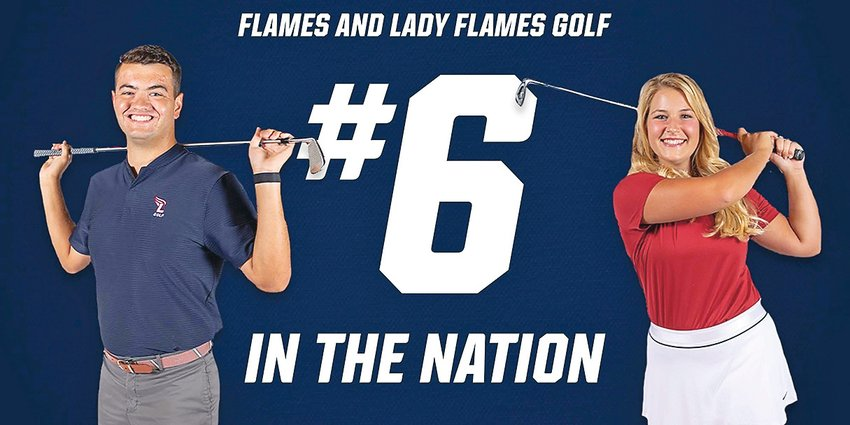 THE LEE FLAMES men's and women's golf teams are both ranked No. 6 in the nation, according to the latest GolfStat rankings. Pictured are senior Evan Spence and freshman Emma Pittman.