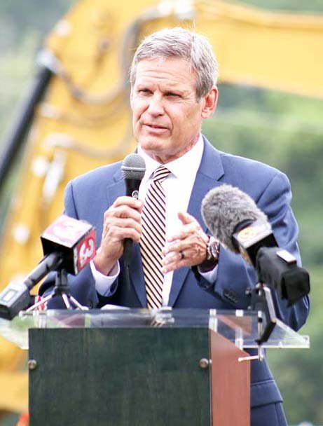 GOV. BILL LEE speaks during an appearance in Bradley County earlier this year. Pressure is mounting on the first-term governor to impose a statewide mandate on wearing face masks as the COVID-19 surge worsens.