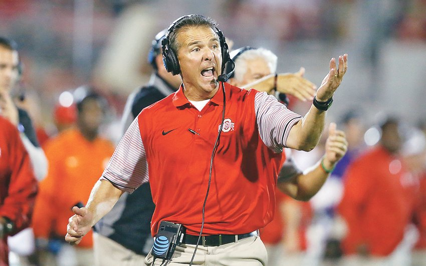 OHIO STATE head coach Urban Meyer shouts from the sideline against Oklahoma in Norman, Okla., in this 2016 photo. Meyer has been hired as the new head coach of the Jacksonville Jaguars.