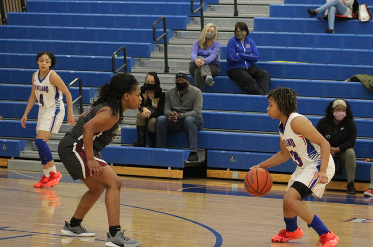 CLEVELAND HIGH senior Jamaryn Blair (33) exploded for 30 points Saturday evening as the Lady Riaders knocked off Oak Ridge, at Raider Arena.