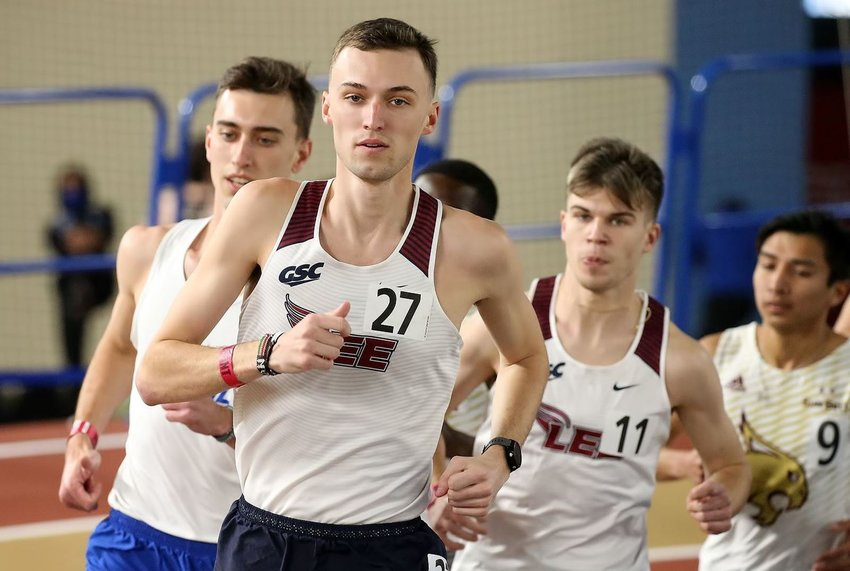 CHRISTiaN NOBLE set a Lee University record with an NCAA Division II automatic qualifying mark off 4:00.06 in the mile run during Saturday's action at the UAB Vulcan Invite. in Birmingham.
