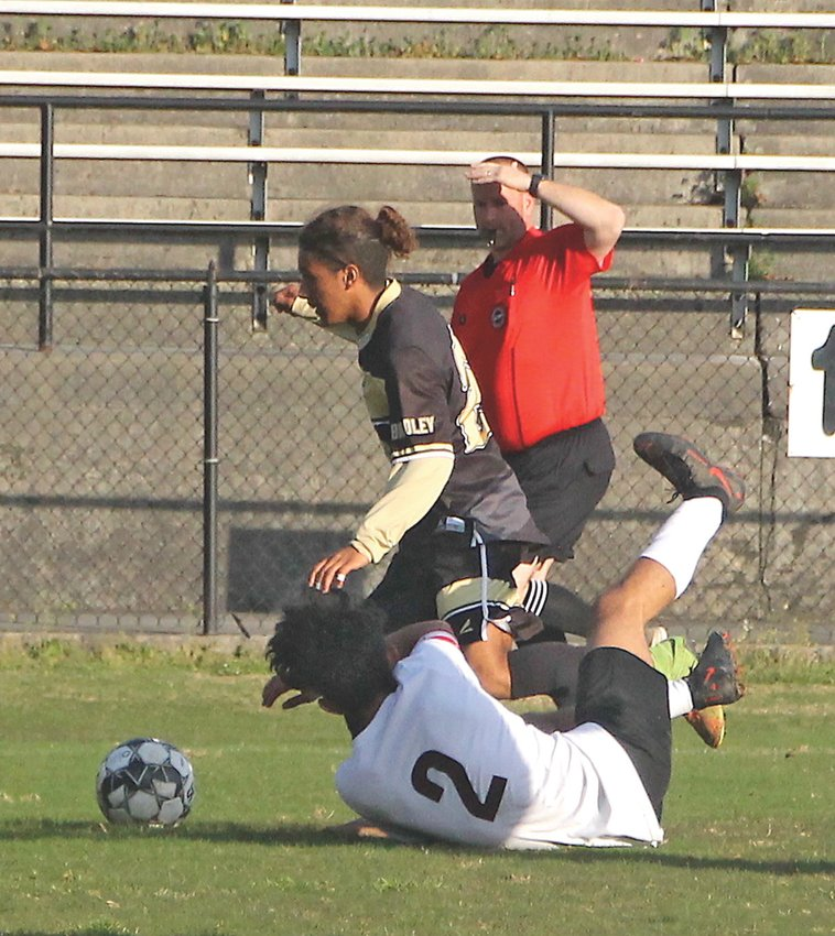 BRADLEY CENTRAL's Cesar Lopez (24) give a Tyner defender the slip for the first of his two goals in Tuesday's 4-2 victory, at Bear Stadium.