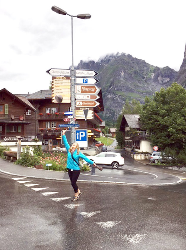 MARCIA HARRIS, a Cleveland resident who has traveled all over the globe, poses for a photo on a street in Grindelwald, Switzerland, where she lived for several years while working as a dental hygienist.