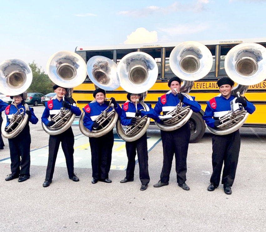SOME OF the Blue Raider Band's sousaphone players pause for a photo. From left are Koral Noland, Eli Cornett, Heather Davey, Angie Moyal, Gavin McCray (section leader) and Cory Massengil. The band is presently conducting a Go Fund Me effort to raise $30,000 to buy new sousaphones.