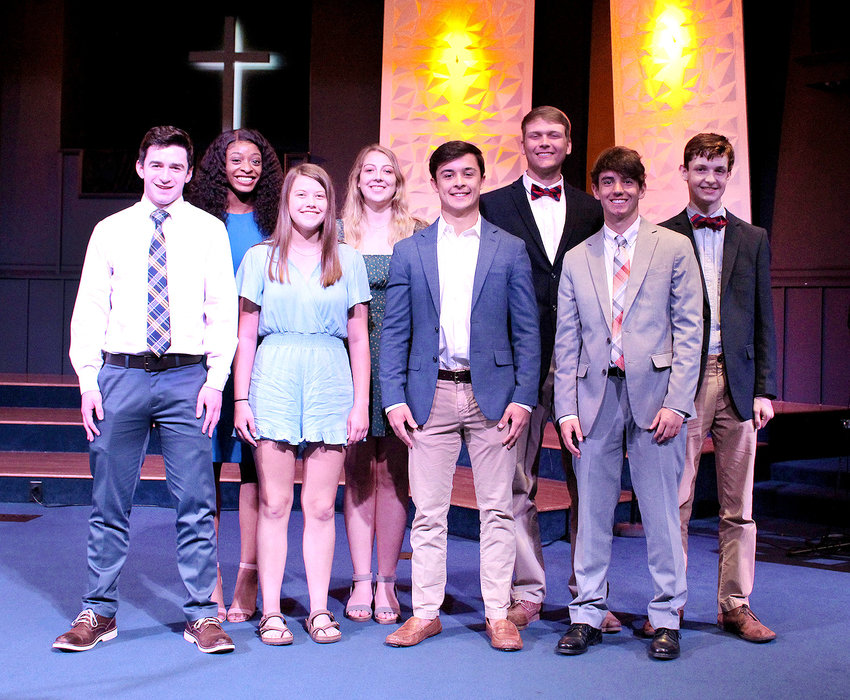 NINE area seniors representing Bradley Central, Cleveland and Walker Valley high schools graduated from the 19th Youth Leadership class of the Cleveland/Bradley Chamber of Commerce in a recent ceremony at Peerless Road Church.  From left, front, are Connor Solsbee, Sidney Starr, Brayden Conn and Jackson Ritzhaupt; second row, Jia Weathersby. Melody McRee and Cole Haney and Truman Hale. Kelsey Carman was not available for photo.