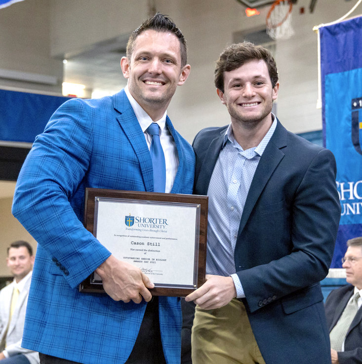 CASON STILL of Cleveland was the recipient of the Biology Award during Shorter University's Awards Day. Dr. Clint Helms, dean of the College of Natural Sciences and Mathematics, presented the award.