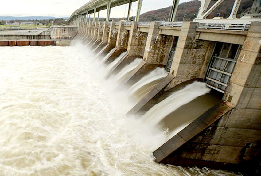 WATER flows through Chickamauga Dam in an undated photo provided by the Tennessee Valley Authority. TVA announced Wednesday that its 41,000-square-mile region had received 67.01 inches of rain in 2018, breaking a record set back in 1973, when 65.1 inches of rainfall soaked the region.