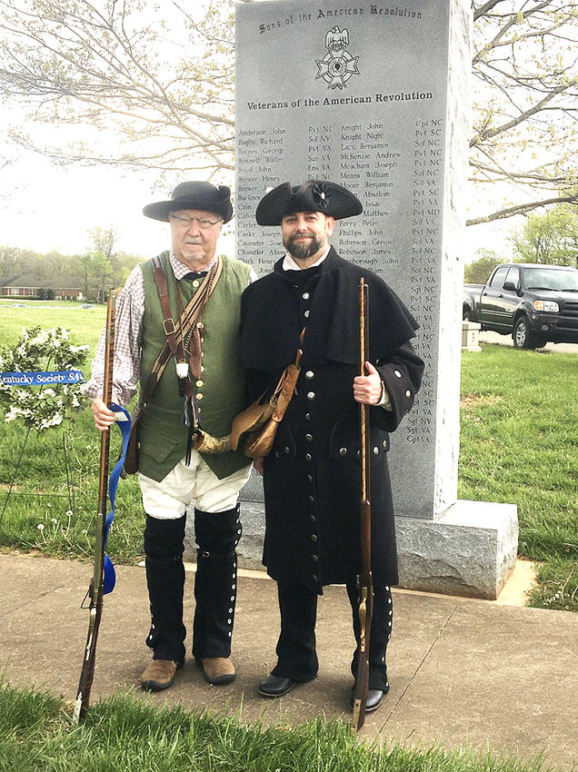 The Kentucky Society of the Central District Sons of the American Revolution held its 5th Annual Patriots Day Commemoration on April 12  at the Kentucky Veterans Cemetery West in Hopkinsville Kentucky.  Members of the Col. Benjamin Cleveland Chapter, Tennessee Society Sons of the American Revolution, Jerry Hjellum, left, chapter president, and Joe White, immediate past chapter president, attended the ceremony participating in the presentation of Wreaths, musket volley and cannon salute.