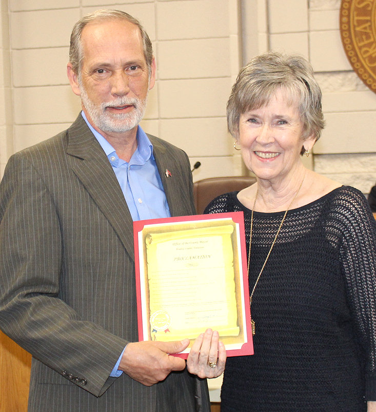 BRADLEY COUNTY Mayor D. Gary Davis presents a proclamation to Carolyn Lay in honor of her retirement after 55 years of employment in county government. The proclamation declared Monday, April 29, 2021, to be Carolyn Lay Day in Bradley County.