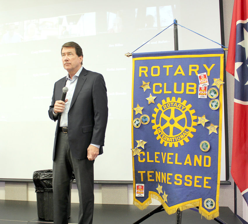 "UNITED STATES Sen. Bill Hagerty (R-Tenn.) listens to a question from a Rotary Club of Cleveland member after speaking at the civic organization's weekly luncheon at the Museum Center on Tuesday. The senator said the current situation at the U.S./Mexico border was a humanitarian crisis of ""epic proportions."""