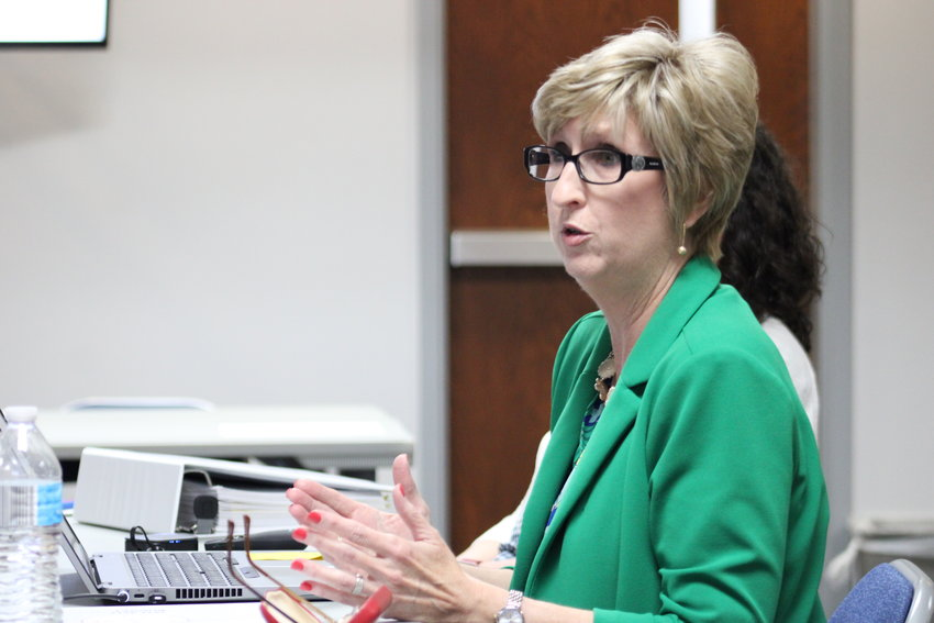 FINANCE DIRECTOR Susan Willcutt explains the needs of the Bradley County Schools Fiscal Year 2022 budget during a work session in May.