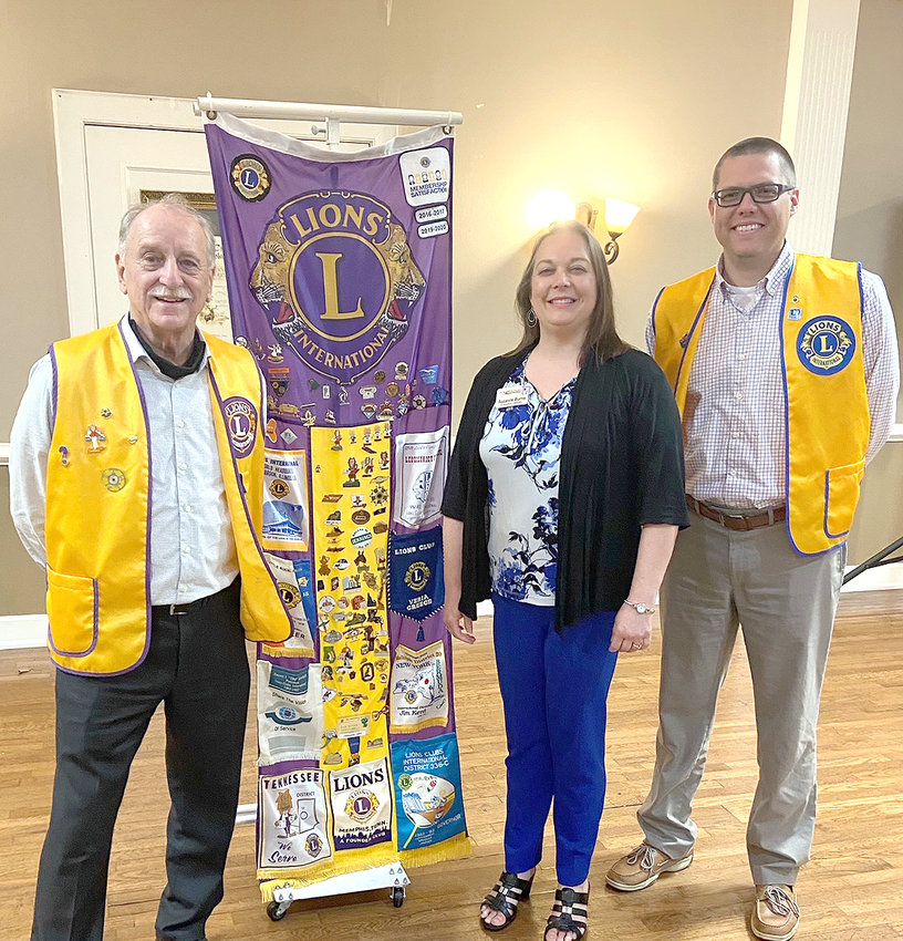 LIONS CLUB members were given information on Foundation House Ministries by Suzanne Burns, director, this week. Foundation House assists mothers in crisis. It provides residential care for eligible pregnant women with children, daily classes on parenting, coping skills, financial literacy, healthy relationships, and more. Job training and finding stable employment, childcare and housing are also provided. From left are King Lion Jack Smith, Burns and incoming King Lion Andrew Carson.